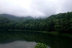 霧のかかった山と湖