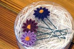 三色の菊のかんざし
