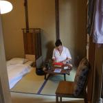 A guest arranges her space.